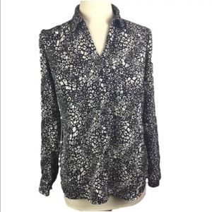 Jaclyn Smith women's blouse black white bubble
